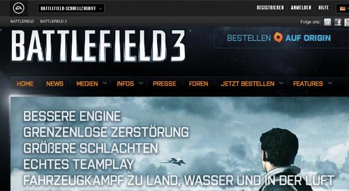 Screenshot der Battlefield-Seite (© battlefield.de)