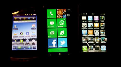 Huawei Ideos X3, Noki Lumia 800, iPhone 4s