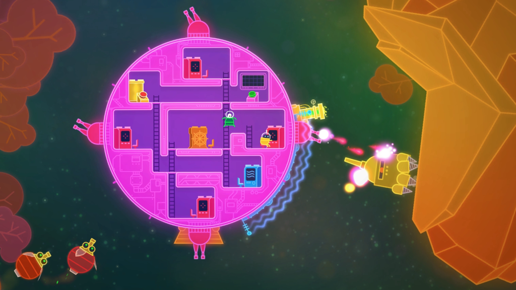"""Das rosarunde Raumschiff """"Kaugummi Null"""" von Lovers In A Dangerous Spacetime wird von einem Roboter und zwei Weltraumfliegen angegriffen"""